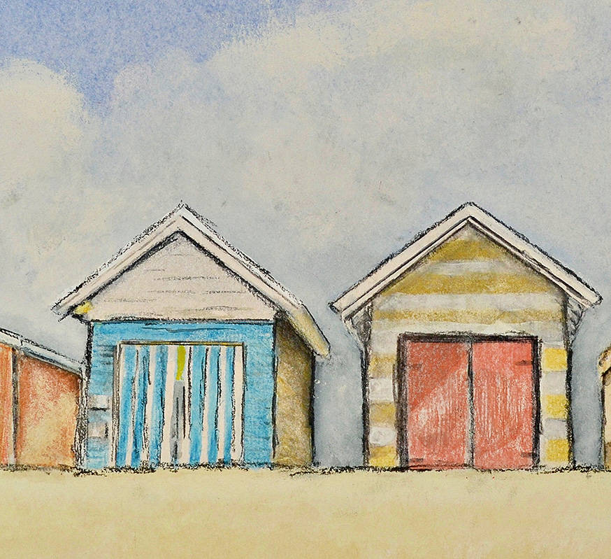 detail from art bay boxes at mornington watercolour painting treena seymour