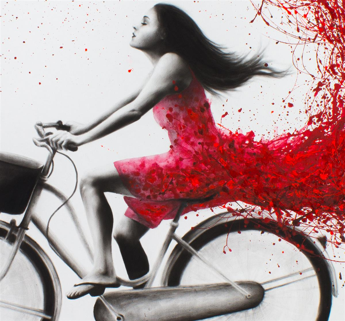 bicycle escape acrylics and charcoal ashvin harrison