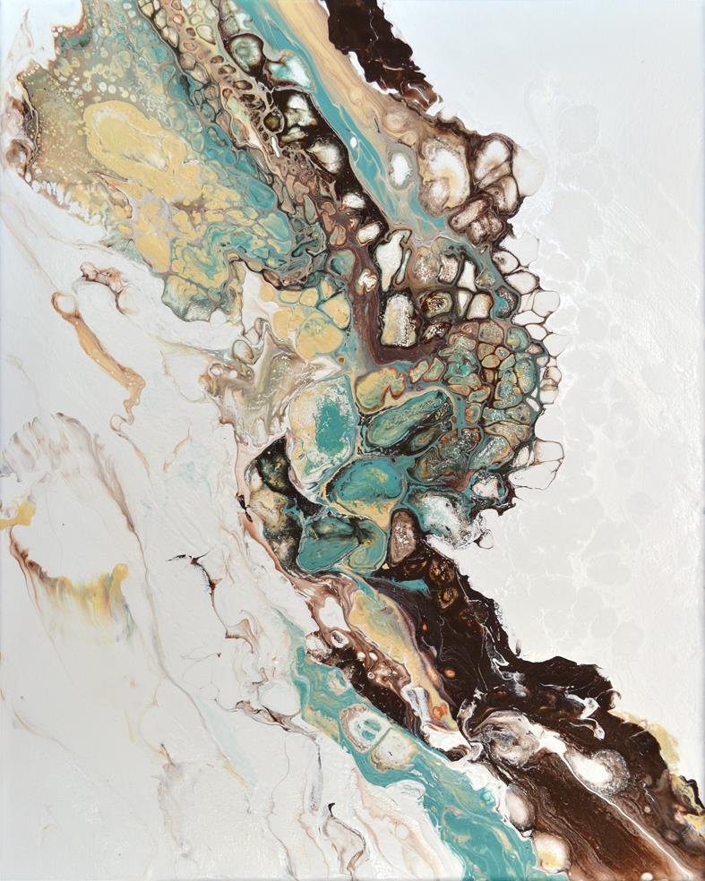 abstract in turquoise and brown painting brigitte ackland