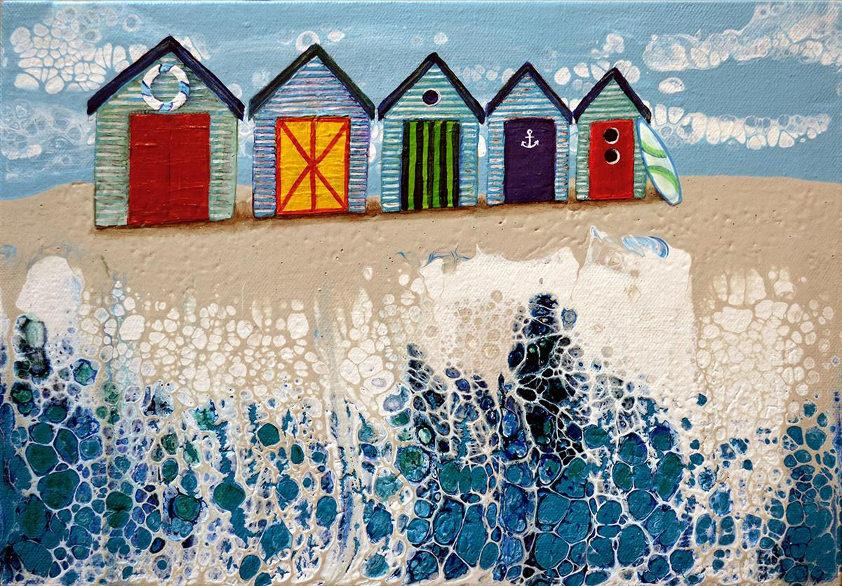 beach huts #1 painting brigitte ackland