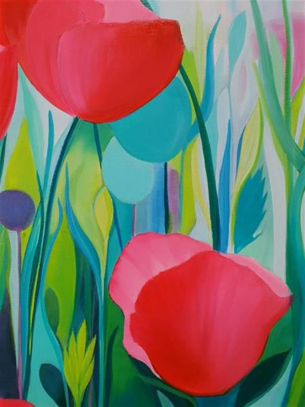 detail from art pink poppy painting lucinda leveille