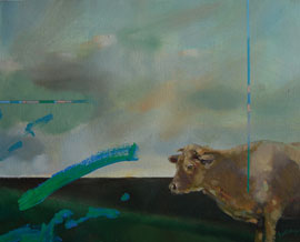 cow founded painting trevor salisbury