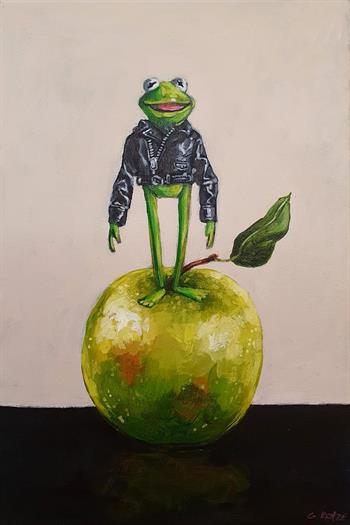 magnificent amphibian & apple painting grace kotze