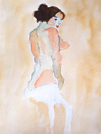 nude with cloth painting thelma van rensburg