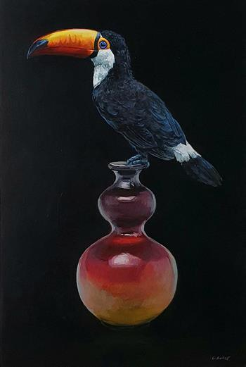 toucan and antique vase painting grace kotze