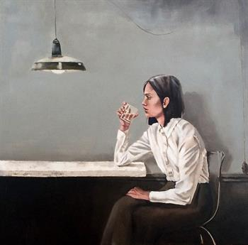 portrait with water glass painting mila posthumus