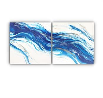 flowing water (diptych) painting treena seymour