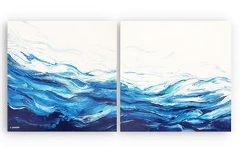 tidal flow (diptych) painting treena seymour