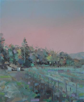 vineyards looking west. tamborine mountain painting trevor salisbury