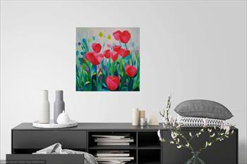 pink poppy painting lucinda leveille